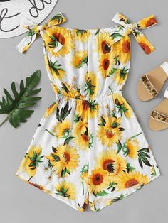 ROMWE offers Floral Print Knot Side Romper & more to fit your fashionable needs. Girls Fashion Clothes, Teen Fashion Outfits, Cute Fashion, Outfits For Teens, Girl Outfits, Fashion Black, Fashion Styles, Fashion Fashion, Fashion Ideas
