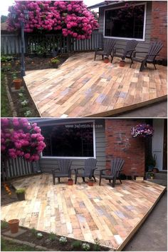 Patio Deck Out Of 25 Wooden Pallets Pallet Flooring Pallet Terraces & Pallet Pat… Pallet Patio Decks, Outdoor Pallet Projects, Pallet Lounge, Diy Deck, Pallet Ideas, Palet Deck, Pallet Porch, Pallet Walls, Diy Projects