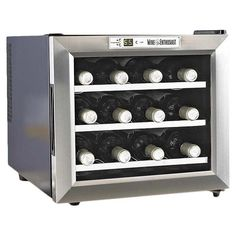 Countertop wine refrigerator with three removable shelves. Holds twelve bottles.  would be good on the shelves in the pantry