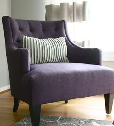 Purple chair in grey & purple bedroom - theyellowcapecod.com