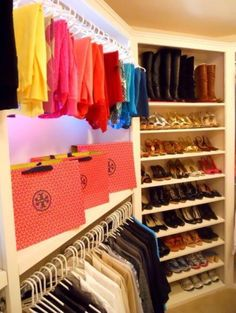 New Closet ideas, cant wait to have this. I kept a few bags from stores i shopped in LA. wanna use to decorate!