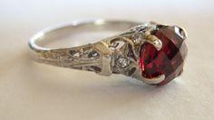Antique 2.5ct Garnet diamond ring 14k white by bestoftimesjewels