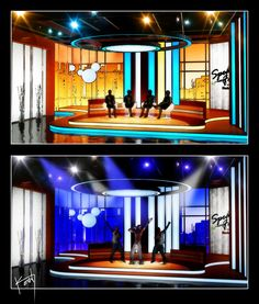 A concept talk show designed by Kevin Vickers, utilizing color changing LED lights along with HD LED video walls to allow for a wide variety of productions.
