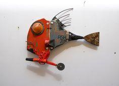 pesci – ArtPesceFresco – Stefano Pilato Sculpture Metal, Paper Mache Sculpture, Fish Sculpture, Metal Fish, Wood Fish, Wooden Art, Wood Wall Art, Arte Steampunk, Recycled Art Projects