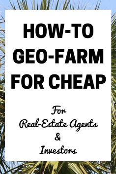 Geographic farming in real estate I feel is never explained step-by-step. So in this guide I'm going to explain specifically to target a geographic area in real-estate for maximum lead generation and so that you don't waste money!  How-to actually find addresses In order to find addresses, you need software that's designed specifically for …
