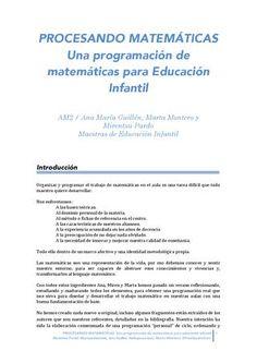 Procesando matemáticas una programación de matemáticas para educación infantil  Programación matemáticas infantil