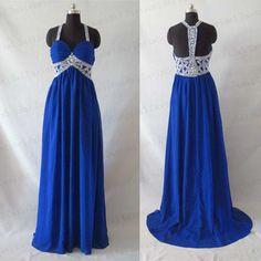 Royal blue crystal chiffon prom dressopen back sexy by Davisbridal