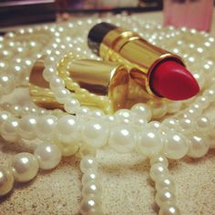 Pearls and lipstick XOXOXO photo by me!