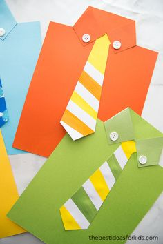 This Free Tie Template Printable PDF is perfect for a Father's Day Craft! Kids can write their own messages under the tie and turn it into a shirt card. Diy Father's Day Crafts, Father's Day Diy, Diy Crafts For Kids, Art For Kids, Fathers Day Art, Easy Fathers Day Craft, Homemade Fathers Day Gifts, Toddler Crafts, Preschool Crafts
