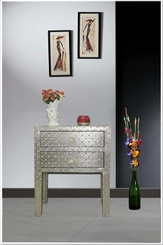 Online Embossed White Metal Two Drawer Bedside Table Cabinet