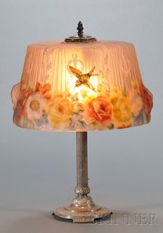Puffy Pairpoint Hummingbird Lamp   Silvered metal and art glass   New Bedford, Massachusetts, early 20th century