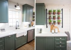 Green cabinets, gooseneck light over sink, black faucet, white walls