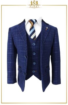 Matching men and boys suits are here at SIRRI. Same fabric, same cut! A lovely check suit designed by Cavani, this is a contemporary look on a vintage classic. It features a contrast dark blue collar with a very subtle check design throughout the suit. Shop now at SIRRI kids #boys formal wear #kids suits #page boy outfits