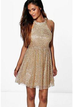 Boutique Aly Sequin Dip Hem Skater Dress