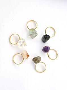 crystal ring // stacking ring // amethyst ring // citrine ring // pyrite ring // fluorite ring // chakra ring // yoga jewellery meditation