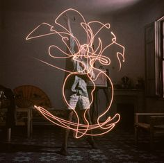 Light Drawings - photographs of Pablo Picasso by Gjon Mili, 1949