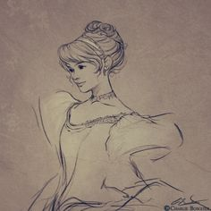 charliebowater: cinderella      One day I will stop posting random sketches and actually start posting substantial work again. Until then, have a slightly more realistic interpriation of Cinderella?  Oh yeah, there's my childhood self still 'eeeeee-ing' at drawing Princesses. Poofy dresses, hell yes.