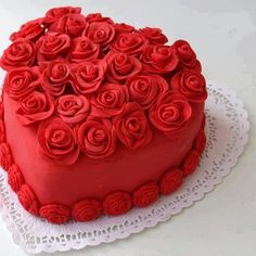 "~ Red heart-shaped cake ~ An easy way to say, ""I love you."""