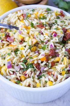 Stephanie kay nutritionist & speaker orzo salad recipes, pasta salad, s Spring Salad, Summer Salads, Easy Salads, Healthy Summer, Vegetarian Recipes, Cooking Recipes, Healthy Recipes, Heart Healthy Meals, Healthy Sides