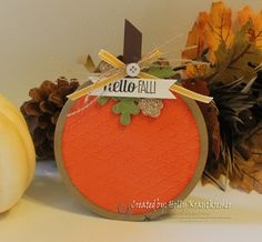 Fall Decor Hand Stamped Pumpkin Picture Frame by Rubberredneck