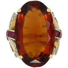 Preowned Mid-20th Century Citrine Diamond And Ruby Ring ($3,550) ❤ liked on Polyvore featuring jewelry, rings, multiple, oval diamond ring, 14k ring, citrine diamond ring, square diamond rings and diamond jewellery