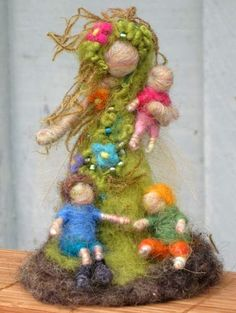 Needle Felted Earthy Mother with Her Children - Beautiful OOAK gift for Mothers, by Borbala Arvai $70.00 by boridolls @ Etsy