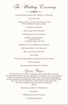 Wedding Programs Ceremony Wording Reception Program Church