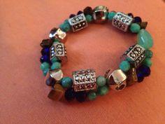 Aqua and Royal Blue bracelet