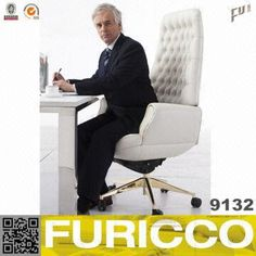 White Leather Office Chair Manager Chair Furniture 9132