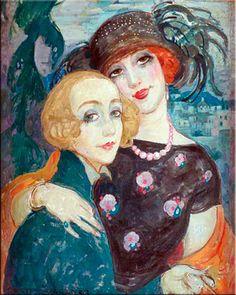Artista Lili Elbe y su esposa, la artista Gerda Gottlieb. Lili fue uno de los primeros receptores de cirugía de reasignación de sexo, 1930