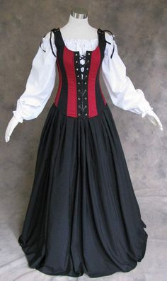 Renaissance Bodice Skirt and Chemise Medieval or Pirate Gown Dress Costume M #Artemisia #Skirt