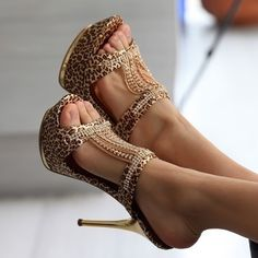 Free shipping 2014  summer shoes sexy rhinestone leopard women platform high heels pumps sandals for women J190