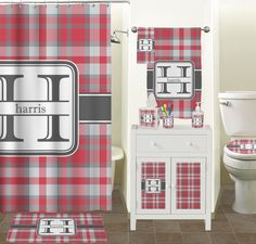Red Gray Plaid Bathroom Accessories Set Personalized
