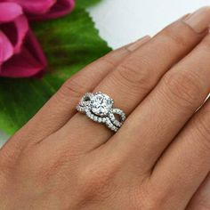 Modern yet romantic, honor the one you love with this stunning bridal set. This is the perfect, conflict-free alternative to a mined diamond. That means you never have to worry about whether human life was sacrificed to make your ring. I personally selected these stones because they are internally flawless, D color and brilliant cuts; its the perfect set. It has a beautiful, intense sparkle that will definitely grab attention when you wear it. Its a great gift for yourself or for that…