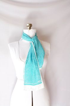 Vintage ECHO Scarf  Long Silk  Turquoise by PomegranateVintage, $19.99