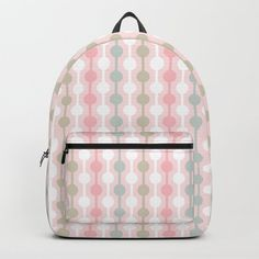Geometric Multi Droplets Pattern - Summer Pastels - Pink Blue Green White Backpack by denidesigns Pastel Pink, Pink Blue, Blue Green, White Backpack, Backpacks For Sale, D Craft, One Size Fits All, Fashion Backpack, Laptop