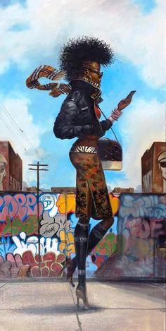 "aguycalledkwest: ""fuckboyizm: "" loopez: "" Back 'N' The Dayz, by Frank Morrison. "" I really love this "" Dope art! Black Love Art, Black Girl Art, Art Girl, African American Art, African Art, American Artists, American Women, Frank Morrison Art, Arte Black"