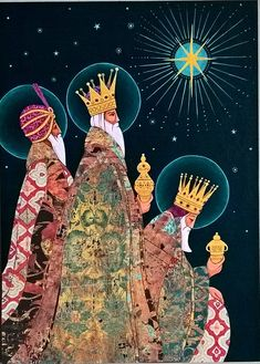 Three Kings.   A4 Hand painted card. Acrylic and paper on ca…   Flickr Christmas Scenes, Christmas Nativity, Noel Christmas, Merry Little Christmas, Vintage Christmas Cards, Christmas Crafts, Christmas Decorations, Xmas, Christmas Journal