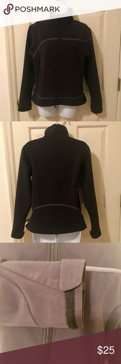 """EUC Columbia Titanium Jacket Great looking black Columbia jacket in excellent used condition. Velcro at wrists for adjustable width.  Size Small 19 1/2"""" bust 22 1/2"""" sleeve length 19"""" hem 💜Thanks for shopping my closet!💜 Columbia Jackets & Coats Utility Jackets"""
