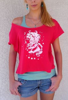 Candy Kisses Grunge Crop Top in Hot Pink S/M by TruleeDarling, $18.00
