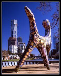 Deborah Halpern's sculpture Angel at Birrarung Marr, Melbourne Victoria