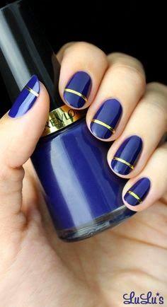 Indigo Blue and Gold Striped Nail Tutorial