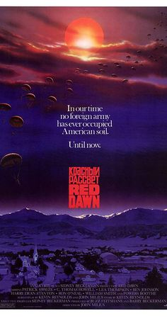 Red Dawn - the original with Patrick Swayze, Charlie Sheen, Jennifer Grey, C Thomas Howel, Patrick Swayze, Charlie Sheen, 80s Movies, Good Movies, July Movies, Throwback Movies, Childhood Movies, Action Movies, Internet Movies