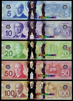 2011- New Polymer ( plastic) Money Canada banknotes - Canada paper money catalog and Canadian currency history