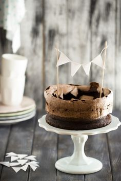 double chocolate cake with cocoa meringue