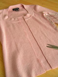Tea Rose Home: Tutorial~ Sweater to a Make Believe Tweed Jacket~