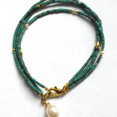 Summer bracelet turquoise and pearls
