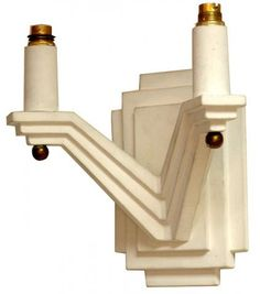 Pair of French Art Deco Geometric Design Plaster Sconces | Modernism