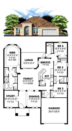 Florida Style COOL House Plan ID: chp-49033 | Total Living Area: 2044 sq. ft., 4 bedrooms & 3 bathrooms. #houseplan #floridastyle