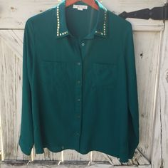 Studded Button-Down Top Beautiful dark jade long sleeve top with gold pyramid stud accents • 2 pockets on front • lightweight & perfect for transitioning into the chilly season Forever 21 Tops Button Down Shirts